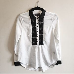 PJK | White Blouse 100% Leather Collar Buttons XS